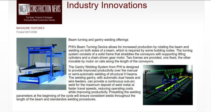 'Metal Construction News' Features PHI Welding Systems