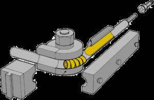 PHI Bending Machine Tooling Diagram - Shows bend die (radius block), clamp die/block, pressure/follower die/block, mandrel, wiper die, and other tooling elements that may be needed