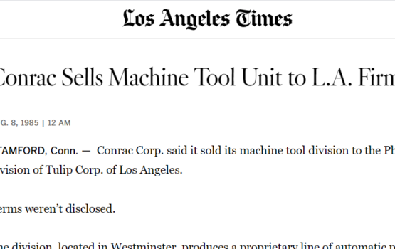 Conrac Sells Machine Tool Unit to PHI (Los Angeles Times - August 1985)